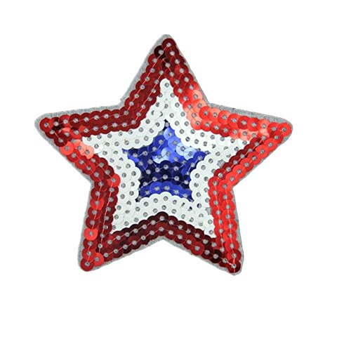 Iron On Sequins - Ximkee(10 Pack)Red White Blue 3 Color 5 Star Sequin Sew Iron On Embroidered Patches Appliques