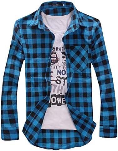 おしゃれ かわいい ギンガム チェック 柄 ボタン 長袖 シャツ 格子 トップス 襟 付 カジュアル メンズ (2XL, ターコイズブルー)