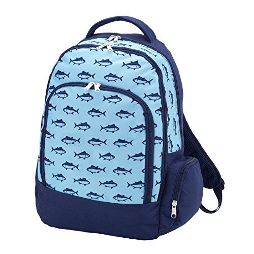 Wholesale Boutique M360 Casual Lightweight Reinforced Water Resistant Canvas School Backpack - Finn Fish Design