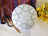 WuYou 8'' Steel Tongue Drum Handpan Tank Special Notes, FREE Bag & Mallets, White