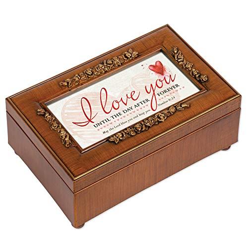 - I Love You Wood Finish Rose Jewelry Music Box Plays Amazing Grace