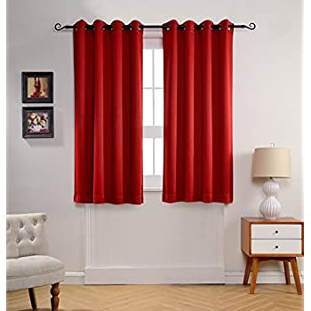 MYSKY HOME Solid Grommet Top Thermal Insulated Window Blackout Curtains For  Dining Room, 52 By 63 Inch, Red (1 Panel)