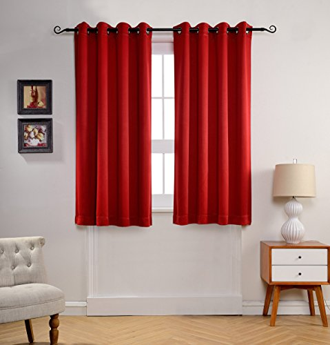 MYSKY HOME Solid Grommet top Thermal Insulated Window Blackout Curtains for Dining Room, 52 x 63 Inch, Red, 1 Panel