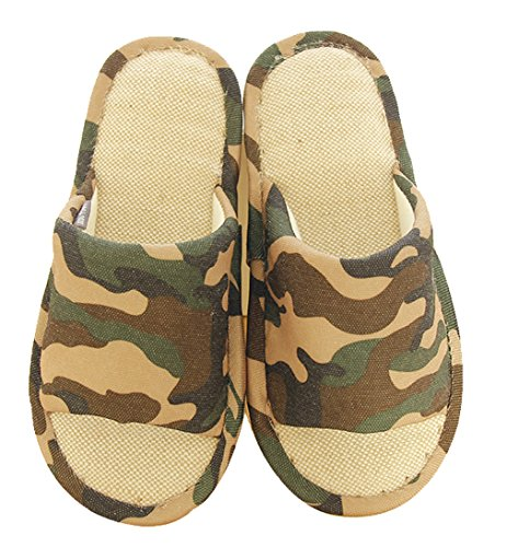 Blubi Womens Summer Camo Linen Comfortable Ladies Slippers Brown Vtlmw