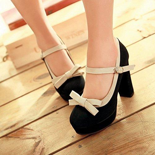 Show Shine Women's Sweet Nubuck High-heel Chunky Platform Mary Jane Shoes Black O2Cuf9FX