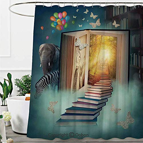 Oobon Shower Curtains, Upstairs to The Magic Book Land Forest with Balloon Zebra Elephant Butterflies, Fabric Bathroom Decor Set with Hooks, 72 x 78 Inches