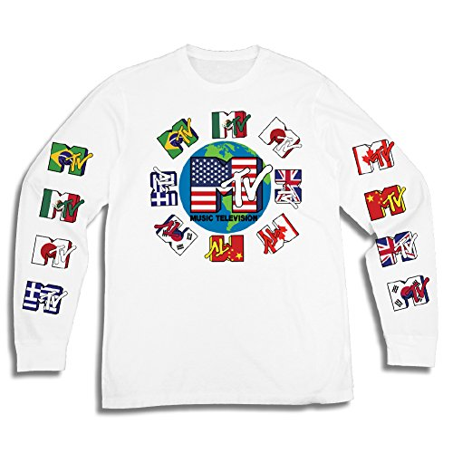 - Mens MTV Long Sleeve Shirt - #TBT Mens 1980's Clothing - I Want My MTV T-Shirt (MTV Flags, Large)
