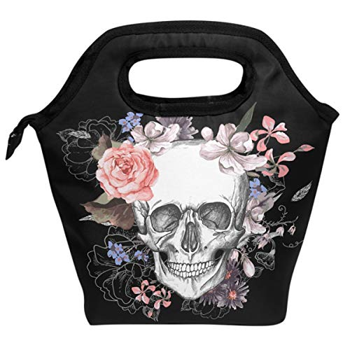 Wamika Sugar Skull Skeleton Lunch Bag Insulated Freezable Rose Flowers Lunch Tote Cooler Handbag Lunch Box for Women Men Picnic Travel Portable Lunch Kit Reusable ()