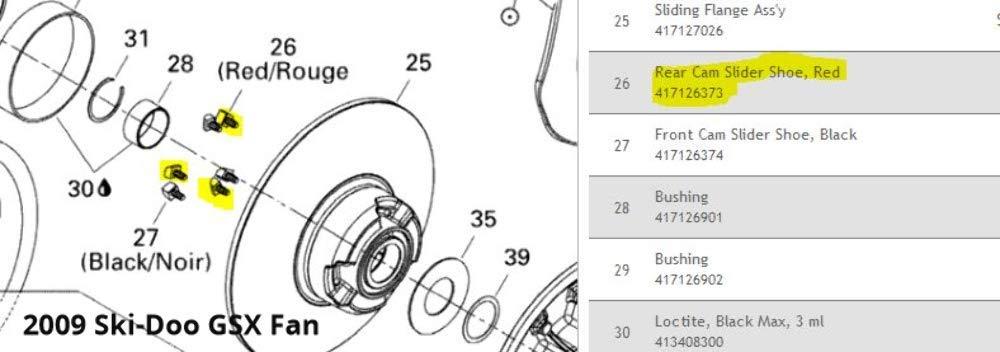 Ski-Doo New OEM Shoe-Cam Slide Rea 417126373 Snowmobile Engine