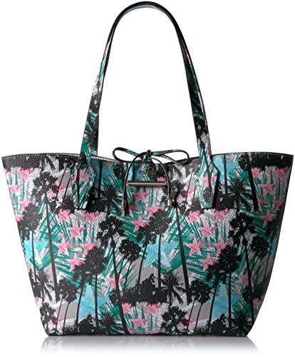 Guess Bobbi Palm Inside Out Tote - Palm/Silver - One Size