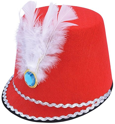 9e99d2b7fad Toy Soldier Boy Fancy Dress Marching Band Majorette Red Hat with White  Feather