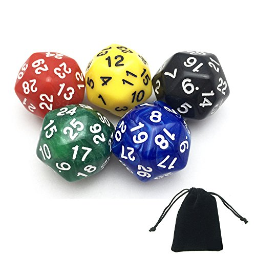 Smartdealspro 5-Pack of Random Color D30 Polyhedral Dice DND RPG MTG Table Games with Free Pouch