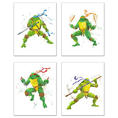 Ninja Turtles Watercolor Wall Art Decor - Set of 4 Prints (8x10) - Poster Photos - Michaelangelo, Leonardo, Donatello, Raphael -