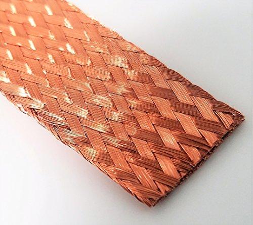 Flat Bare Copper Braid, Bright, 5/8