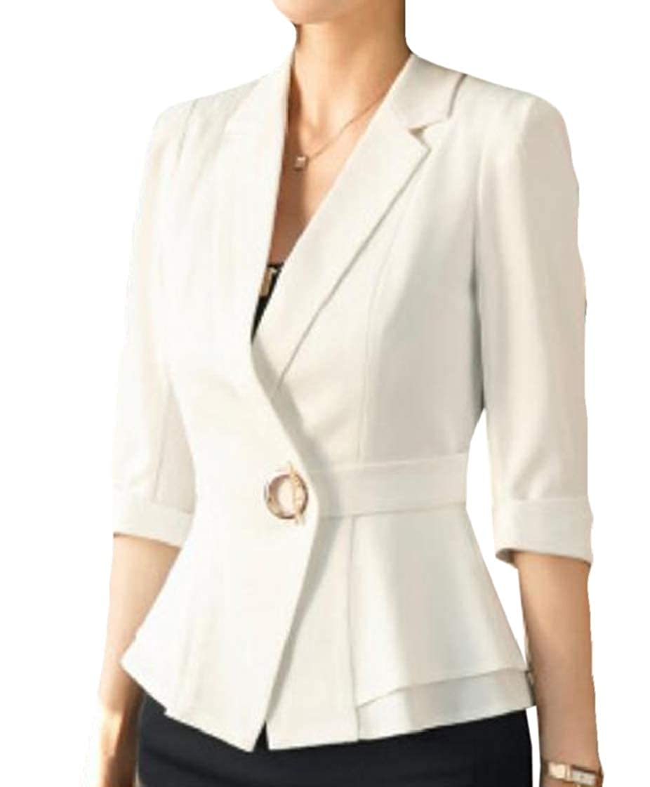 Jofemuho Women Career Lapel Hotel Office Summer Dress Blazer Jacket Sport Coat