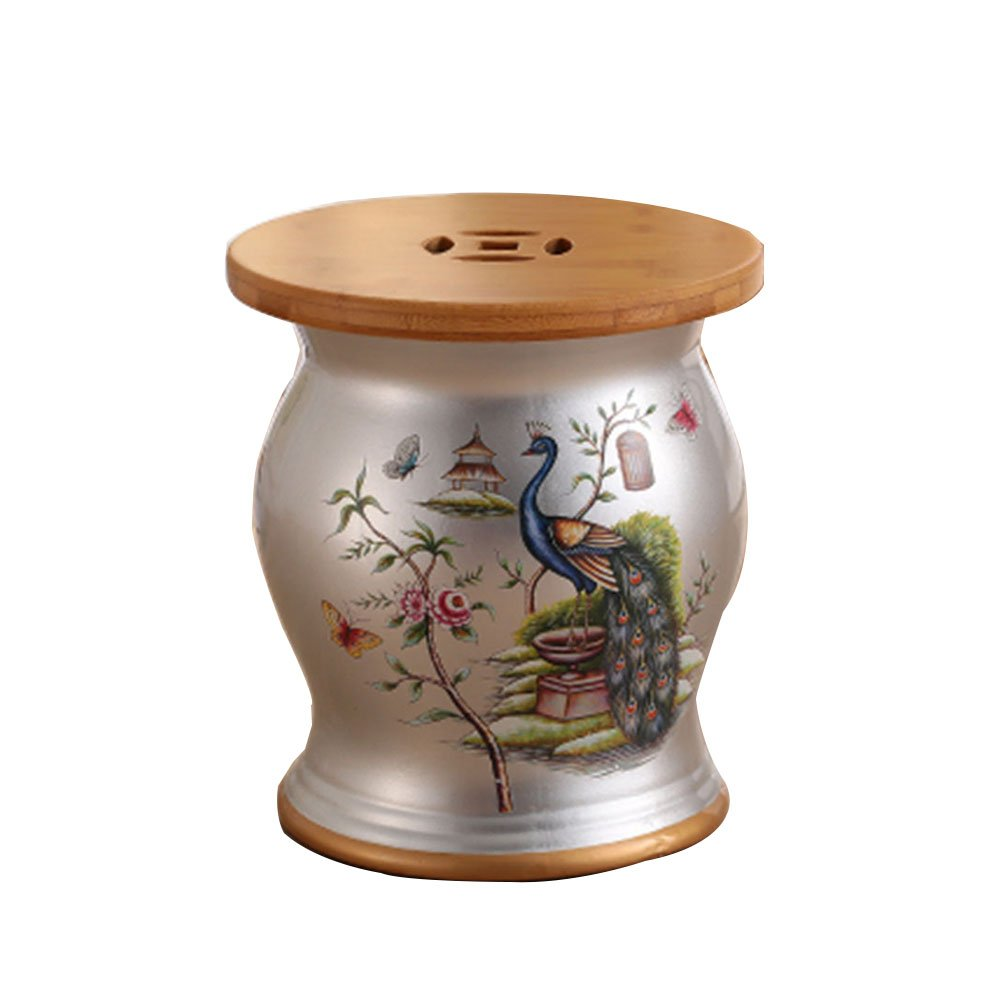 DNSJB Stool Bird Bamboo Wood Ceramic Drum Stool Home Furnishing Porcelain Pier Home Dressing Stool Shoes Stool Storage Stool (Color : Silver)