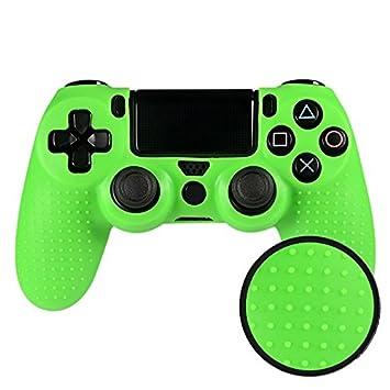 eXtremeRate Funda Carcasa de Silicona Cubierta Protectora Antideslizante para el Mando del Playstation 4 PS4 Original Slim Pro Negro