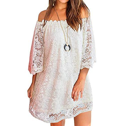 Womens Short Dress Summer Sexy Off Shouder Mini Skirt Lace Shift Loose Beach Dress Party Mini Dress White