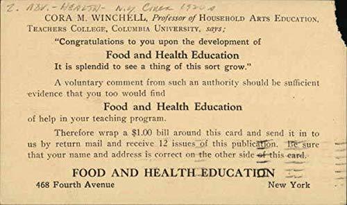 Vintage Advertising Postcard: Cora M. Winchell, Professor of Household Arts Education Advertising