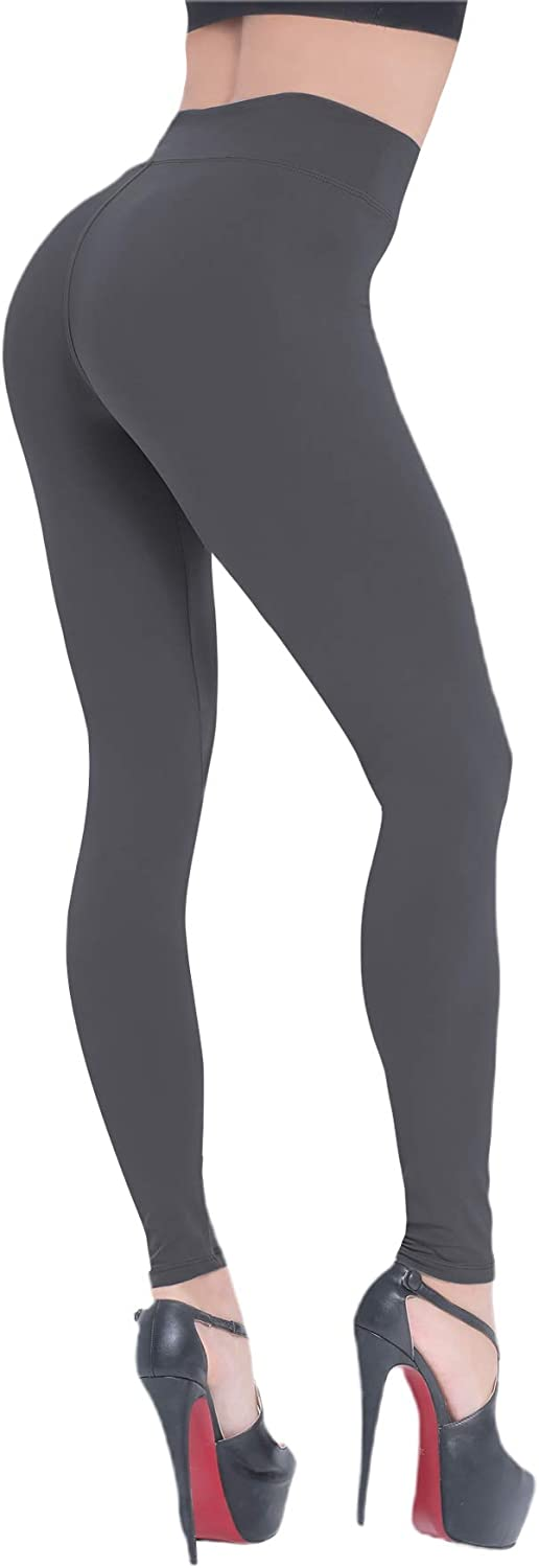 BEELU FASHION BOUTIQUE High Waisted Leggings for Women Soft Workout Running Leggings Tummy Control Slim Yoga Pants(One Size, Charcoal)