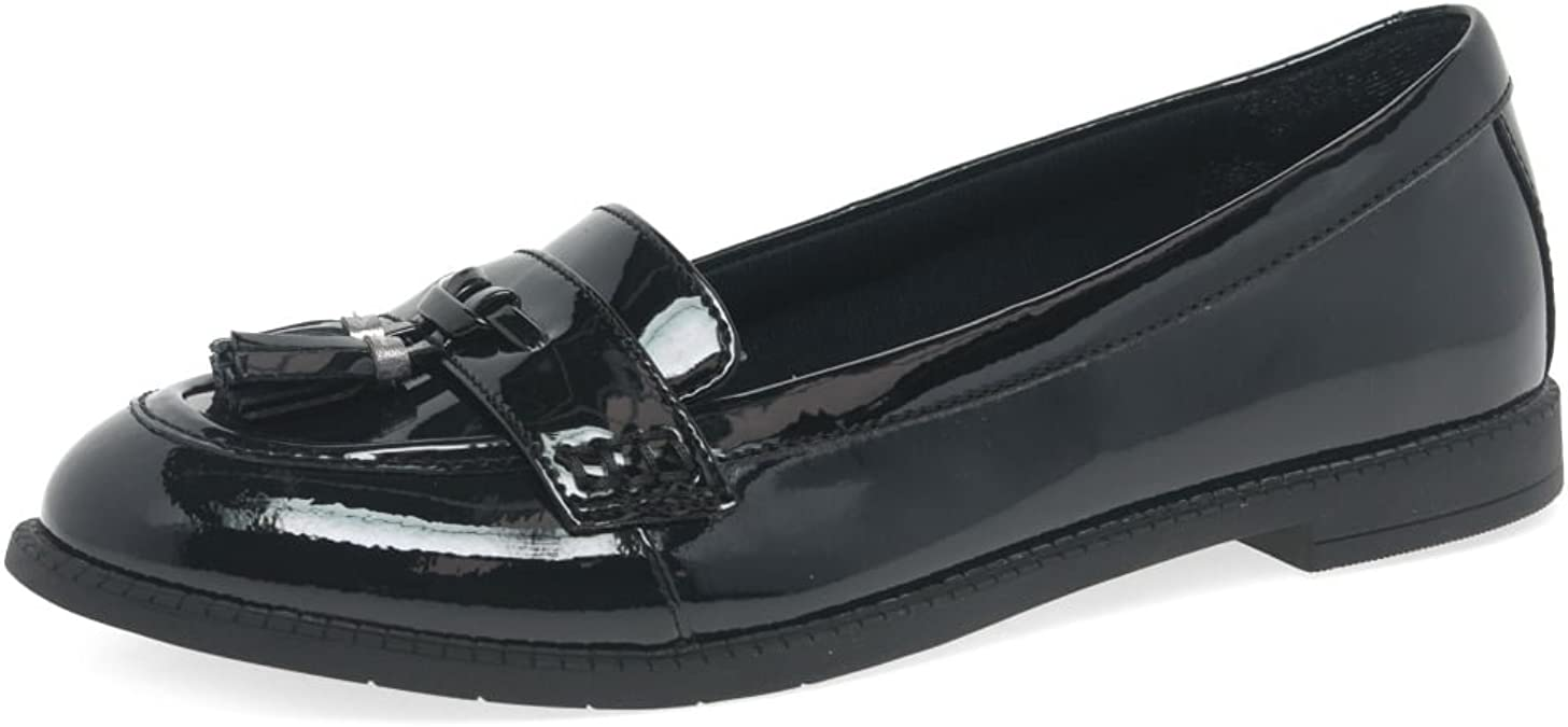 GIRLS BOOTLEG BY CLARKS PREPPY EDGE SMART LEATHER SLIP ON LOAFERS SCHOOL SHOES