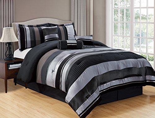 "5 Piece Black / Silver stripe Chenille Comforter set 90""X70"""