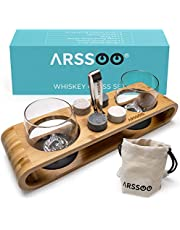 ARSSOO Whiskey Glasses & Whiskey Stones Gift Set – 2 300ML Scotch Bourbon Glasses, 4 Round Chilling Stones, 1 Ice Tong, 2 Coasters, Bamboo Stand & Velvet Bag – Unique Father's Day Birthday Men