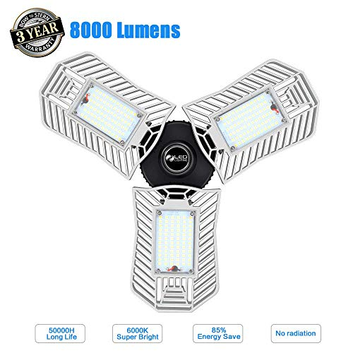 Garage Light 80W Led Garage Ceiling Light 8000Lumens Deformable E26 Shop Lights For Garage Warehouse Home Appliance No Tools Require