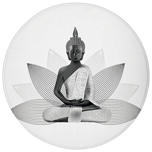 Round Rug Mat Carpet,Asian,Meditating Statue Silver Color on Lotus Background Far Eastern Asian Sage Art Print Decorative,White Grey,Flannel Microfiber Non-slip Soft Absorbent,for Kitchen Floor Bathro (Sage Rug Outdoor Silver)