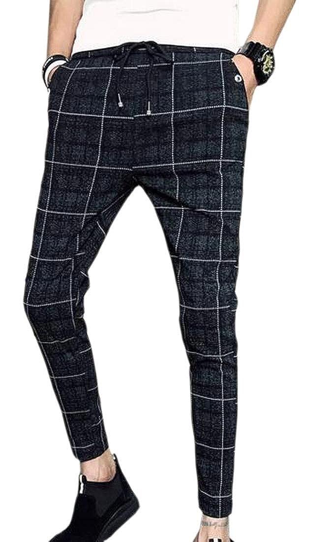 WSPLYSPJY Men Sikye Skinny Slim Fit Stretch Plaid Trousers Ankle-Length
