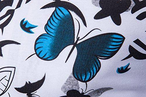 ZhiYuanAN La Impresión Camisa De Polo De Los Hombres Impreso De La Mariposa De Polo Shirt Mode Slim Fit Camiseta Tops Blanco
