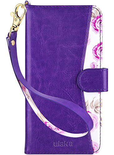 ULAK Flip Wallet Case for iPhone 6s Plus, iPhone 6 Plus Case, Floral PU Leather Wallet Kickstand Case with Wrist Strap ID&Credit Card Pockets for iPhone 6 plus/6S Plus 5.5, Purple