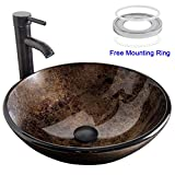 ELECWISH Bathroom Vessel Sink with Faucet Mounting Ring and Pop Up Drain 16.5 Inch Tempered Glass Basin (Brown)