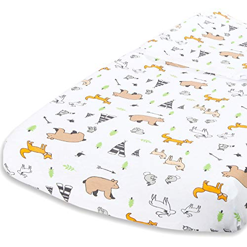 Cuddly Cubs Diaper Changing Table Pad Cover for Baby Girl or Boy | Soft & Breathable 100% Jersey Cotton | Adorable Unisex Woodland Pattern & Fitted Cradle Sheet Changing Pad Cover Pattern