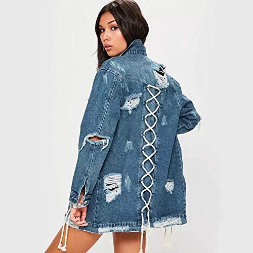 Anteriori Giaccone Giacche Breasted Moda Classiche Elegante Tasche Donna Maniche Casual Autunno Blau Bavero Lacci Giubbino Strappato Di Donne Outerwear Lunghe Con Single Jeans wT7gqTf