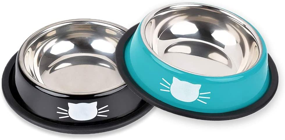 Cat Bowl Pet Bowl Stainless Steel Cat Food Water Bowl with Non-Slip Rubber Base Small Pet Bowl Easy to Clean Durable Cat Feeding Bowls Set of 2 (Black&Blue)