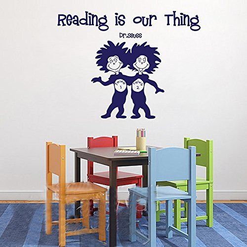 Wall Decal Decor Dr Seuss Thing 1 and 2 Quote Decal - Reading is our thing - Child Wall Decal Quote Nursery Kids Wall Art Sayings(Dark Brown, 32.5'h x43'w)