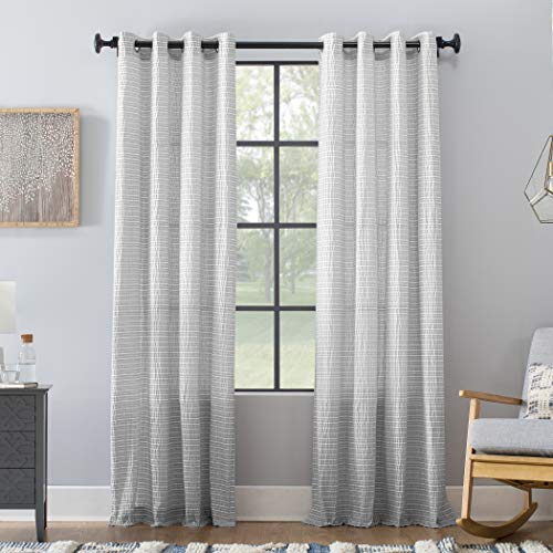 Archaeo Seersucker Stripe Cotton Blend Grommet Top Curtain, 50
