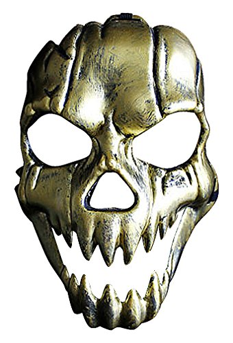 Maze Scary Stylized Grinning Skull Gold Or Silver Worn Out Full Face PVC Mask, Gold One Size ()