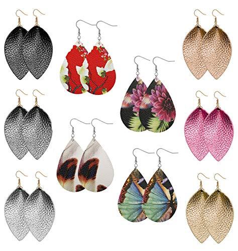 Besteel 10 Pairs Women Teardrop Leather Earrings for Girls Drop Dangle Leaf Earrings statement jewelry ()