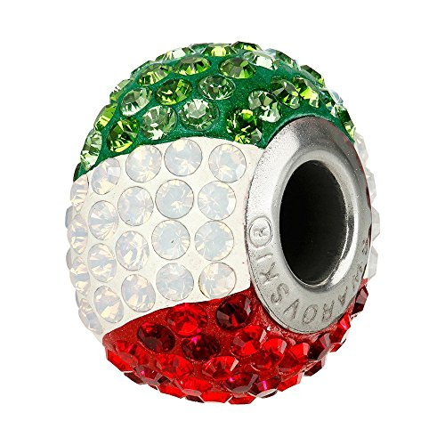 Swarovski BeCharmed Pavé Flag Pandora Style Large Hole Bead 14mm Italy (Package of 1)