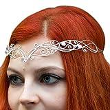 Tiara Circlet Princess Elven Queen Fairy Mermaid Silver-plated Wire Zircon Tiara Celtic Crown Elven Tiara Handmade, Victorian Bridal Crown