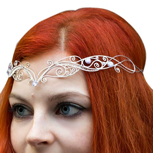 Tiara Circlet Princess Elven Queen Fairy Mermaid Silver-plated Wire Zircon Tiara Celtic Crown Elven Tiara Handmade, Victorian Bridal Crown by Ear Cuffs
