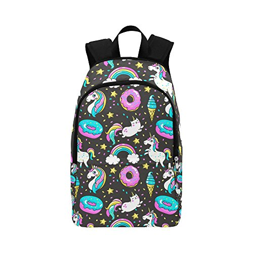 Unique Debora Custom Outdoor Shoulders Bag Fabric Backpack Multipurpose Daypacks for Adult with Design Seamless Pattern With Unicorns Donuts Rainbow