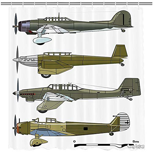 Amoy Lefan Airplane Shower Curtain, Thirties Style Dive in Camouflage Colors Historical Airshow Planes Design, Fabric Bathroom Decor Set with Hooks, 72 Inches Long, Green Grey White