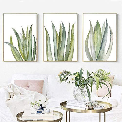 3 piezas nordico tropical hoja de palma arte de la pared acuarela cactus lienzo pintura vegetacion carteles e impresiones pared cuadros sala de estar decoracion