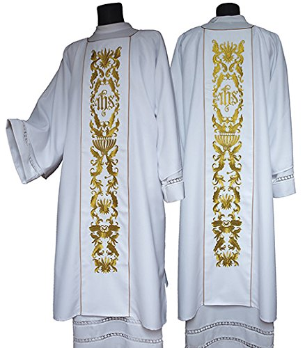 Christian Brands Church Supply YS923WHT IHS Dalmatic - White by Christian Brands Church Supply