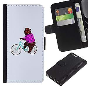 Planetar® Modelo colorido cuero carpeta tirón caso cubierta piel Holster Funda protección Para Apple (5.5 inches!!!) iPhone 6+ Plus ( Circus Funny Animal Bicycle )