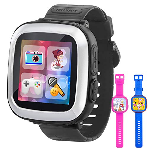 GBD Game Smart Watch for Kids Girls Boys with Camera 1.5 Touch 10 Games Pedometer Timer Alarm Clock Electronic Learning Toys Wrist Watch Bracelet Health Monitor for Holiday Birthday Gifts (Black)