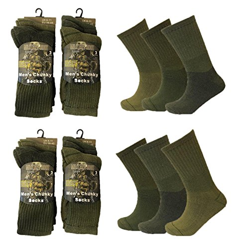 Men 6 or 12 Pairs Army Military Patrol Combat Boot High Performance Hiking Padded Thermal Warm Socks by Little Princess